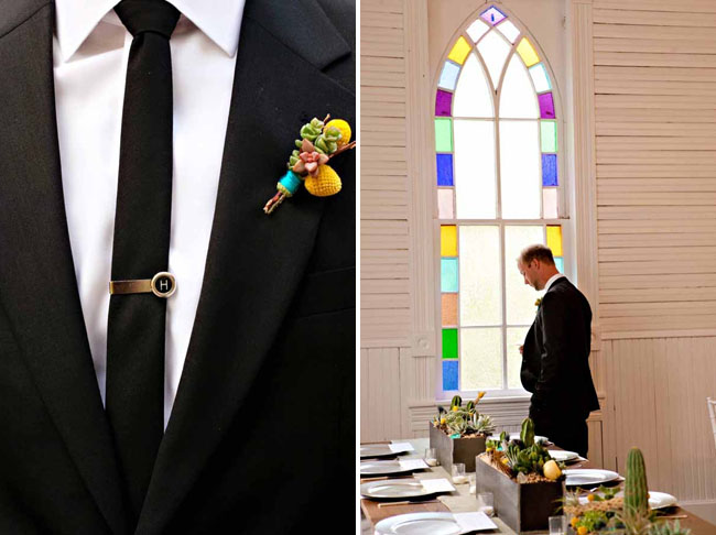 yellow boutonniere with string wrapped