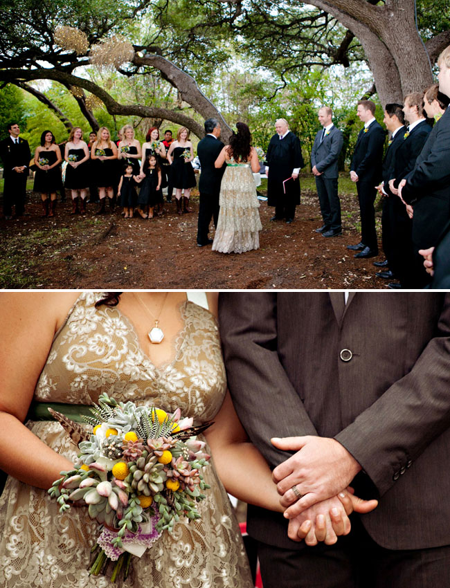 outdoor ceremony big bridal party