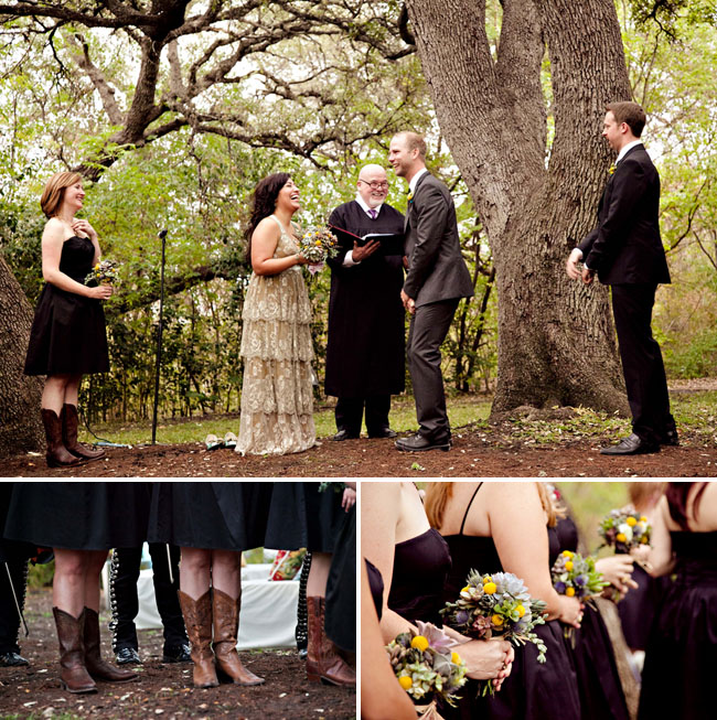 outdoor ceremony bridesmaids in cowboy boots