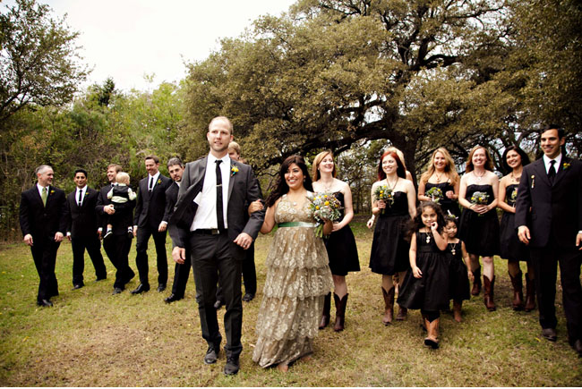 bridesmaids wearing black