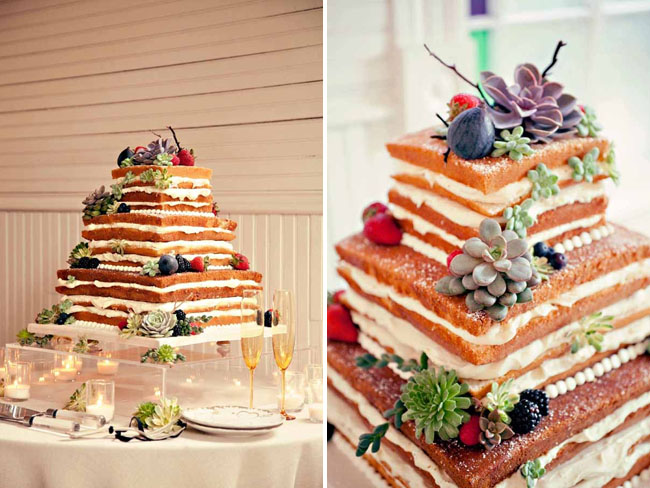 layered cake with succulents