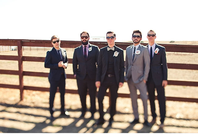 5628b6c13acc Groom in All Black Suit with Yellow Bow Tie, Mismatched Groomsmen in ...