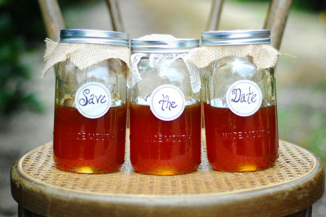 save the date honey jars