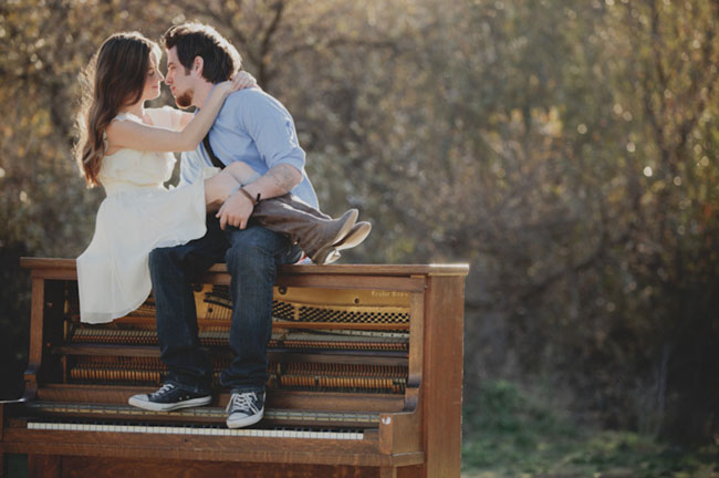 piano engagement session