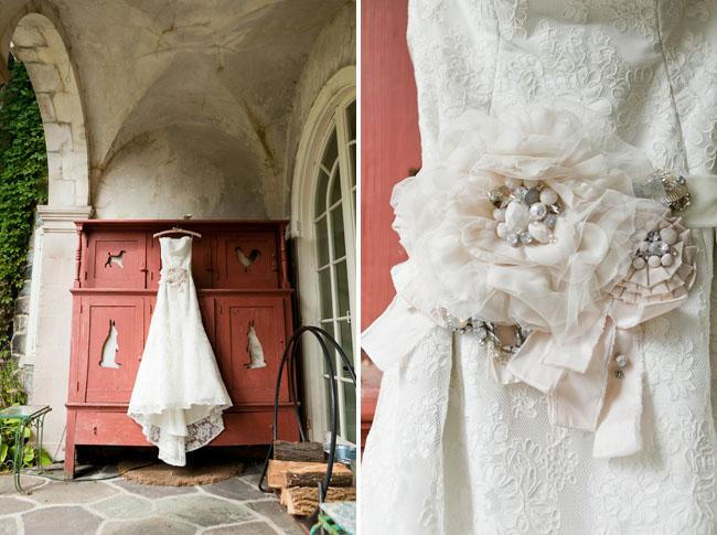 floral sash wedding dress