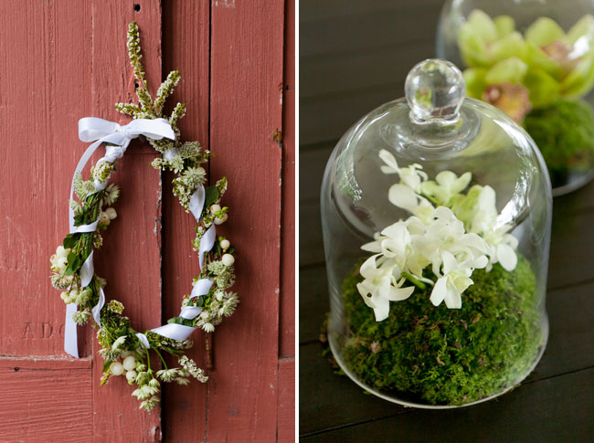 floral wreath, glass dome moss