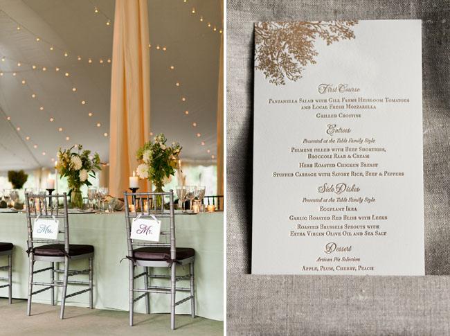 golden type wedding menu card