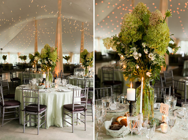 green centerpieces with candles