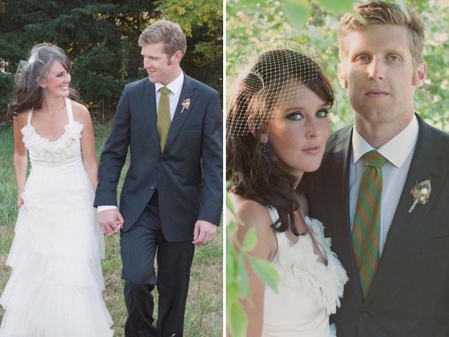 bride wearing birdcage viel and ruffle top dress
