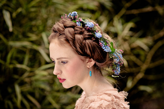braided hair halo with flower halo