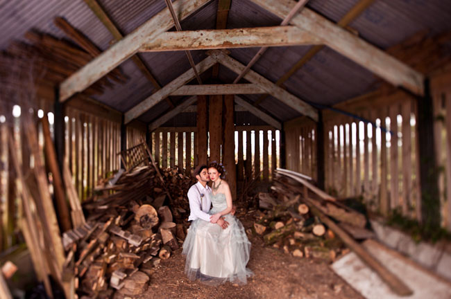 couple in a wood shed