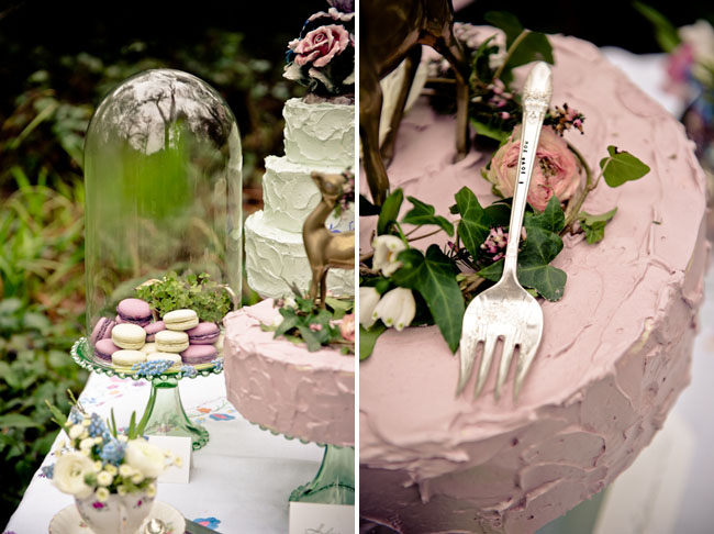 green and pink cake table