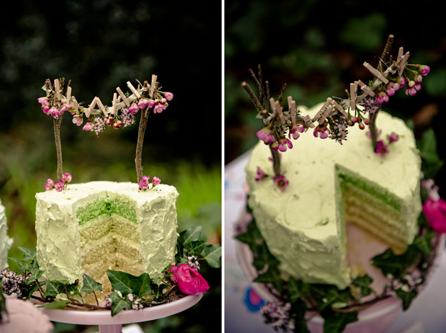 green wedding cake, clothespink cake topper