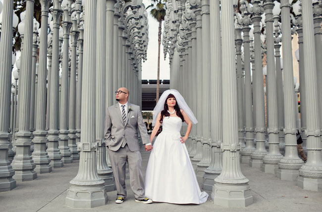 Vintage bride and groom at LACMA