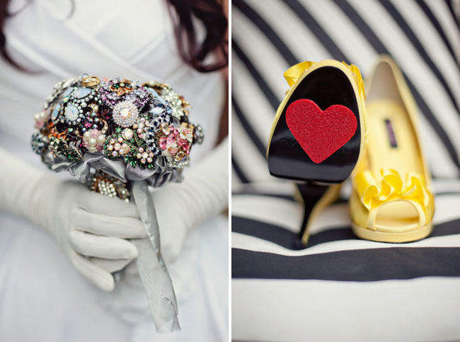 brooch bouquet and heart shoes