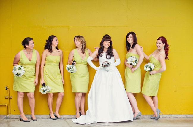 vintage bride with long gloves and bridesmaids