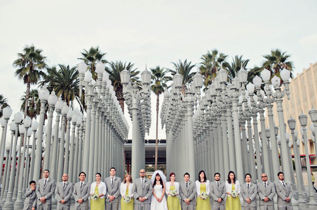 wedding party gray yellow