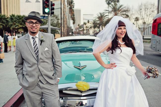 bride and groom exit car