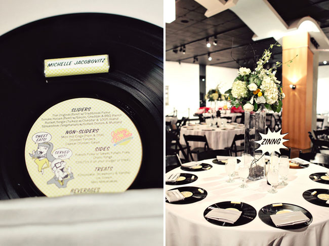 records as place cards menu wedding