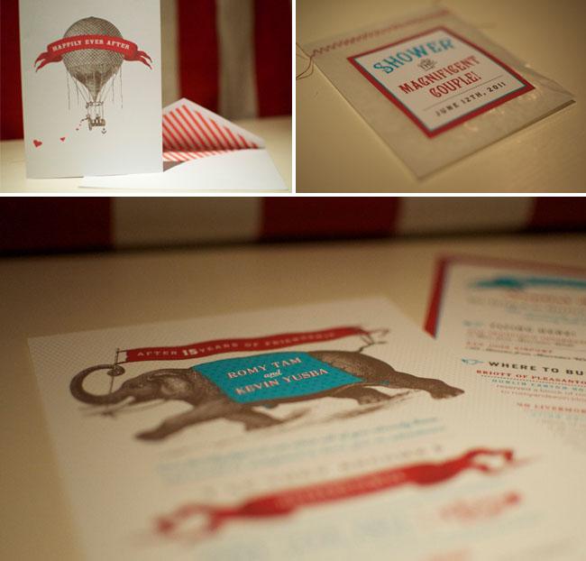 vintage-circus-wedding invitations