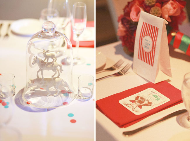 vintage circus wedding table details