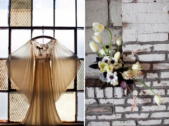 whimsical bouquet, boho weddding dress