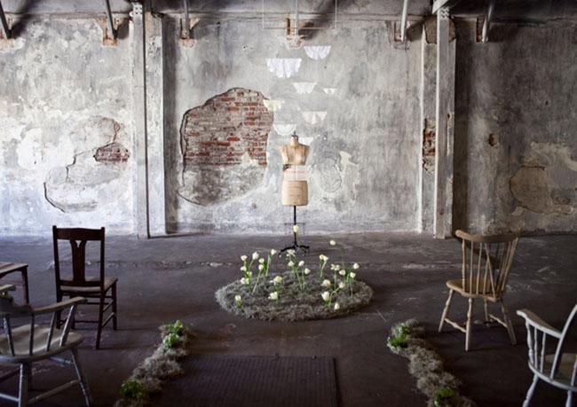warehouse elopement, flowers growing altar