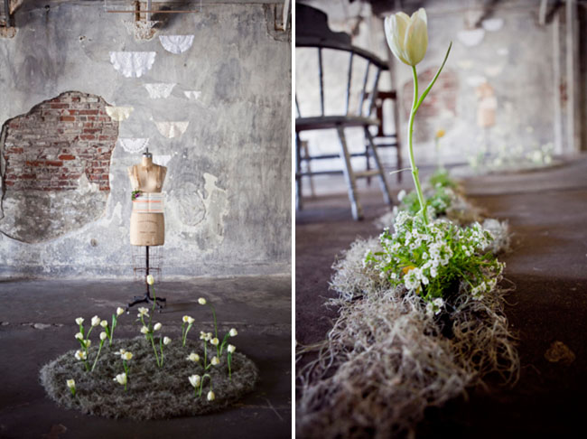 warehouse elopement, flowers growing altar