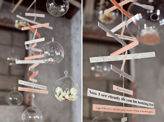 hanging words, clear balls