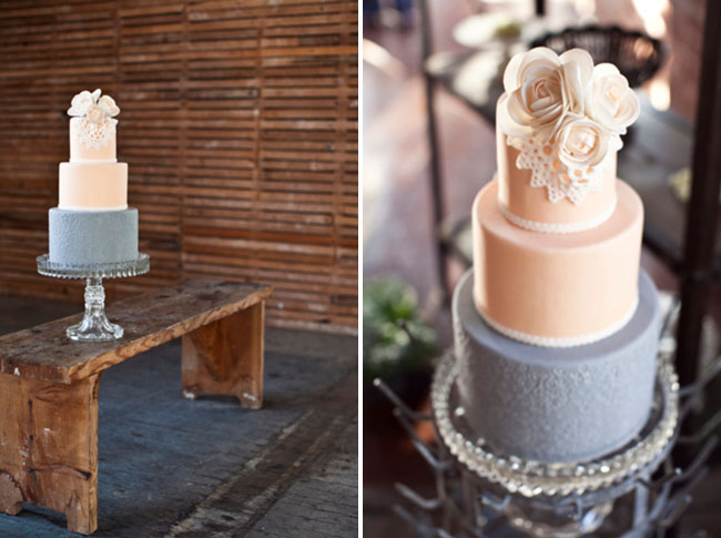 blush and dusty blue weding cake