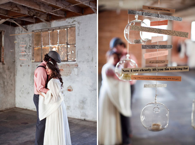 bride and groom, hanging words