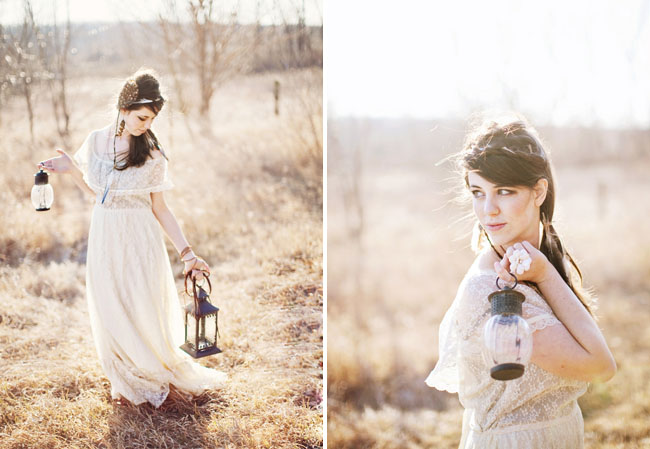 bridal session with a lantern