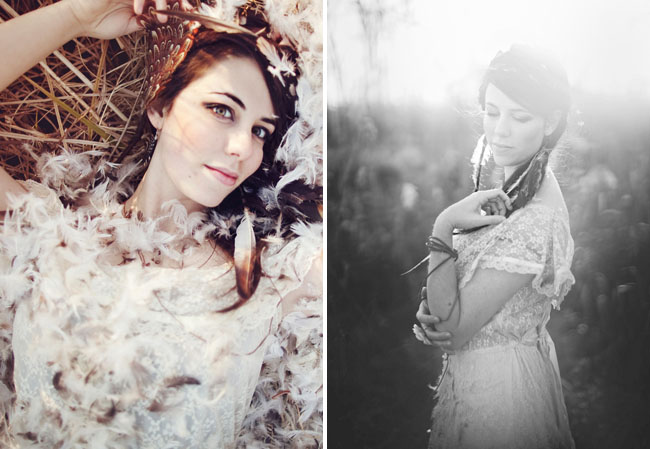bridal session, feathers