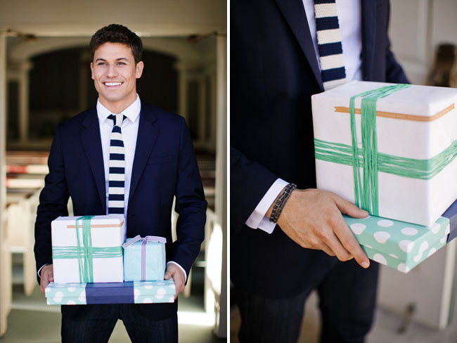 yarn wrapped present boxes, groom with striped tie