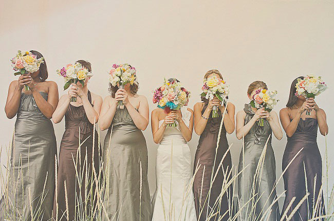bridemaids in long dresses