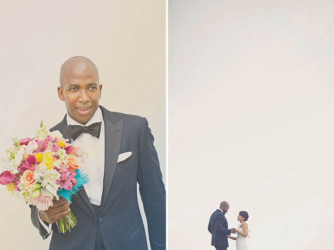 groom holding bouquet