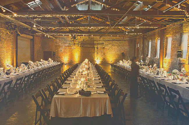indoor reception, exposed brick