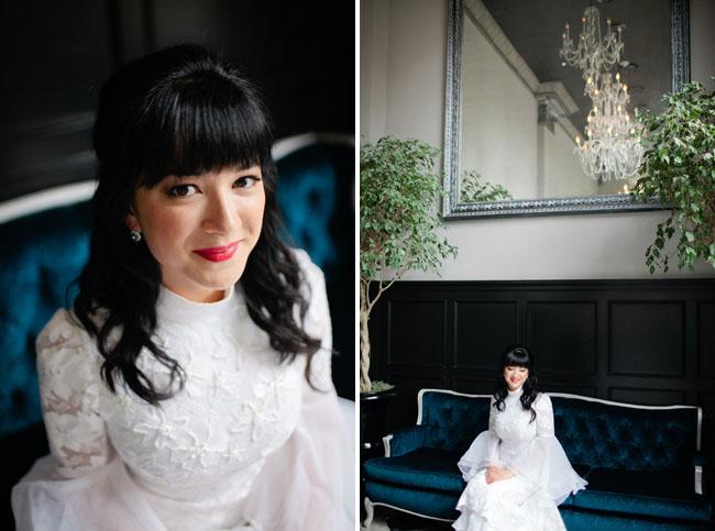 bride wearing red lipstick