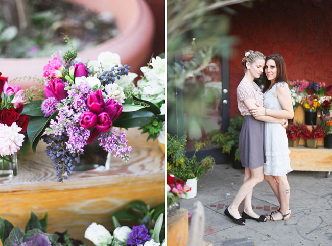 engagement photos at flowershop