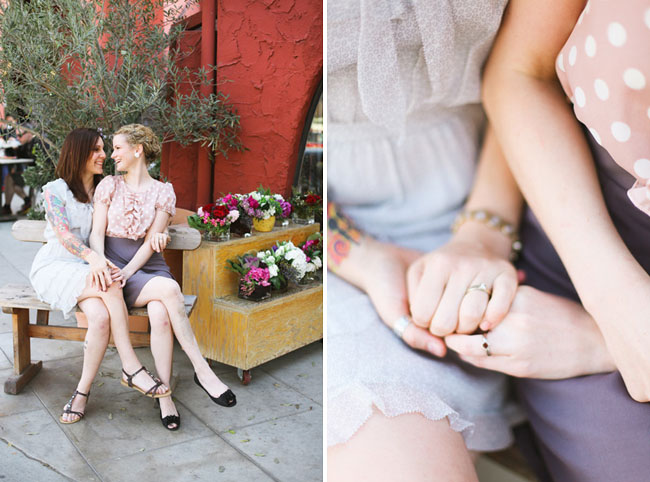 engagement photos at flower shop
