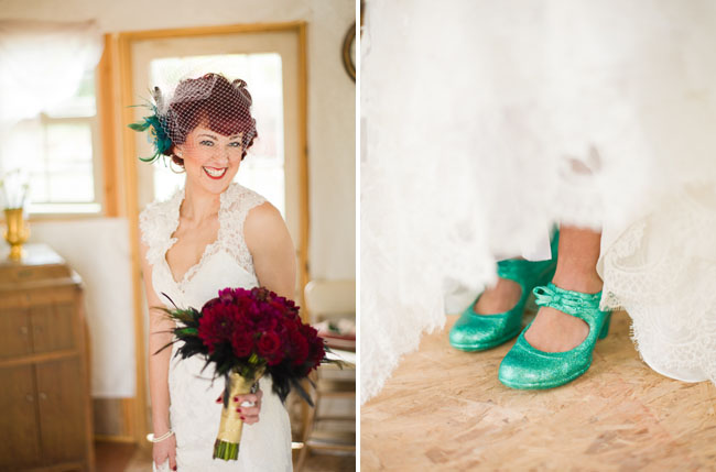 bride with green sparkly shoes