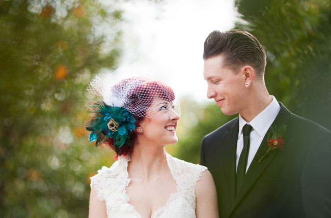 bride with teal flower in hair