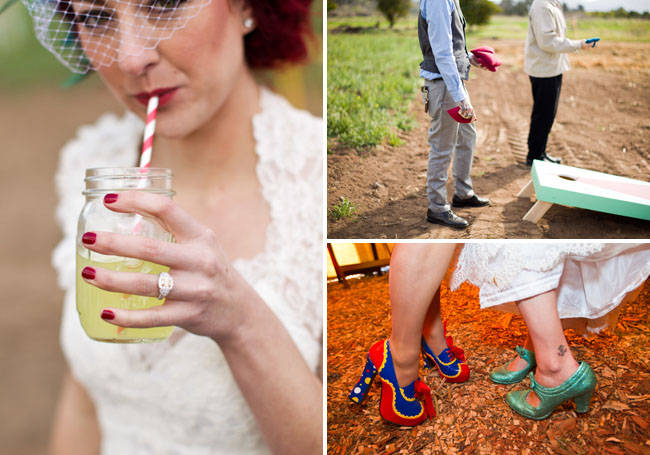 circus wedding green shoes