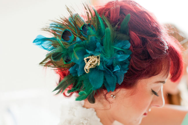 teal hairpiece