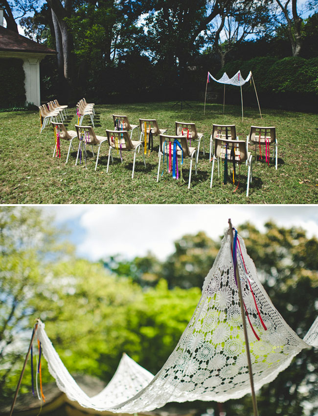 chairs with ribbons
