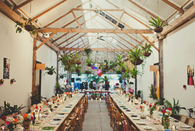 hanging plants reception decor