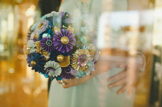 colorful paper fan bouquet