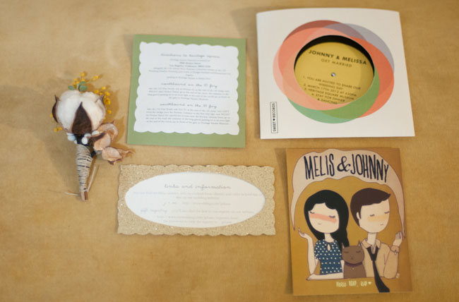vintage invites with CD and drawing