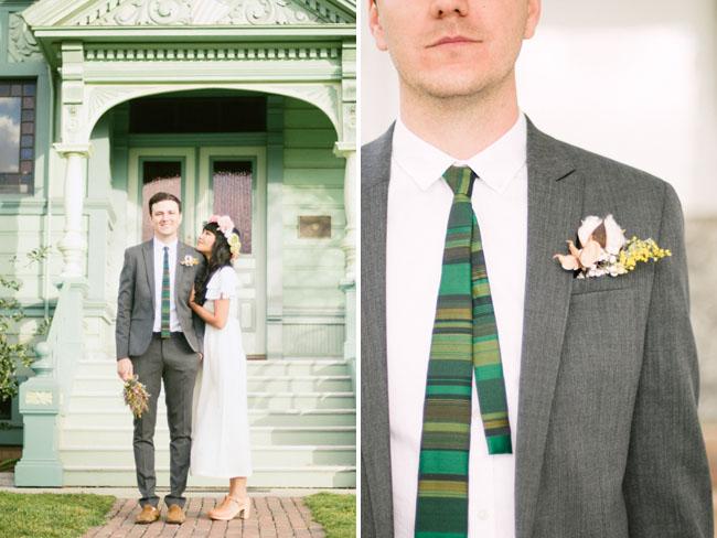 green striped groom tie