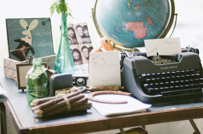 typewriter guest book table